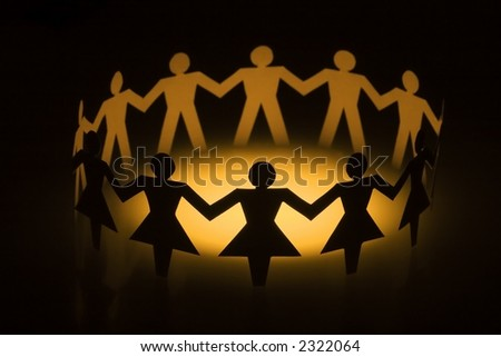 A group of diversify paper chain people. - stock photo