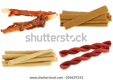 A group of Dog Treats (Dog Food, Dog Chews, Snack) Liver, Chicken and Beef flavor, isolated on white - stock photo