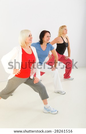 A group of elder women. They're exercising. - stock photo