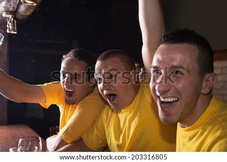 A Group Of Excited Friends Cheering On Their Favorite Team At The Bar - stock photo