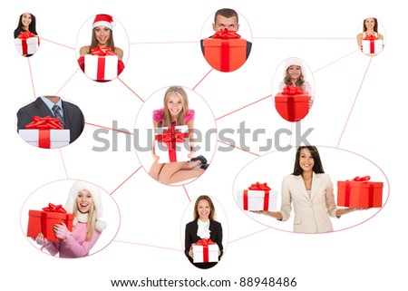 A group of excited people happy smile hold holiday gift box in hands isolated, concept of social network community christmas greetings (some models photographed more than once) - stock photo