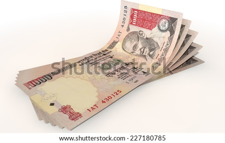 A group of five indian rupee banknotes fanned out and curved on an isolated white background - stock photo