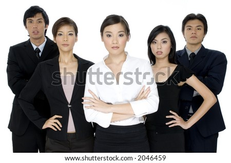 A group of five young asian businessmen and women on white background