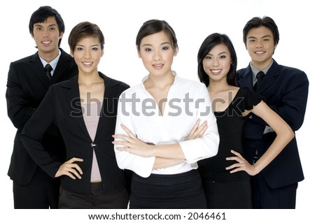 A group of five young business people on white background