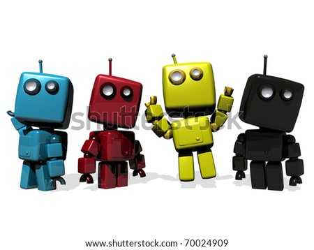 A group of Four funny 3D rendered robots; CMYK (cyan, magenta, yellow, Key Black)