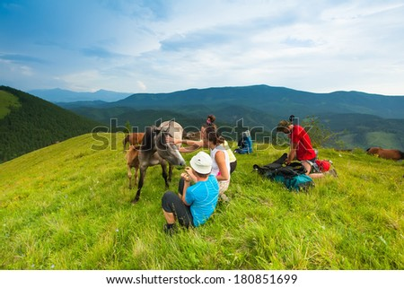 a group of friends, mountain tourists resting on the grass among the flocks of wild horses and their calves against the blue sky.