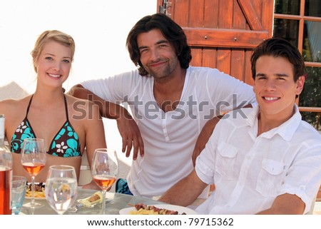 A group of friends on vacation - stock photo