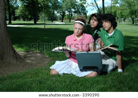 A group of friends outside studying for final exams
