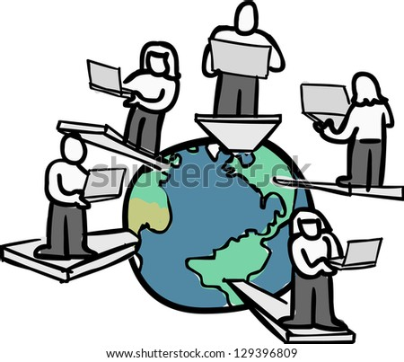 A group of global consultants working from different location. - stock photo