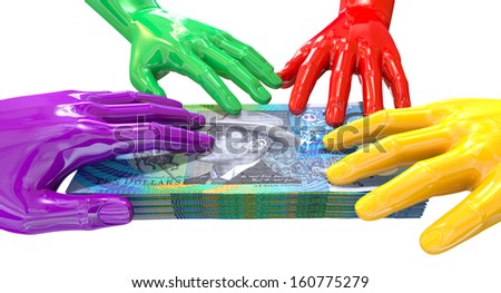 A group of glossy multicolored hands reaching and grappling at a wad of australian ten dollar bank notes on an isolated white background - stock photo