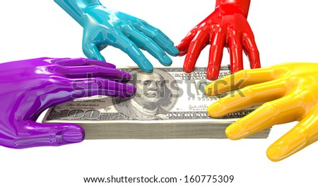 A group of glossy multicolored hands reaching and grappling at a wad of one hundred us dollar bank notes on an isolated white background - stock photo