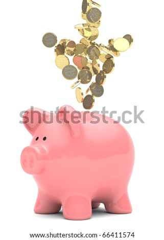 A group of gold coins arranged in the shape of an arrow falling towards a pink piggy bank.