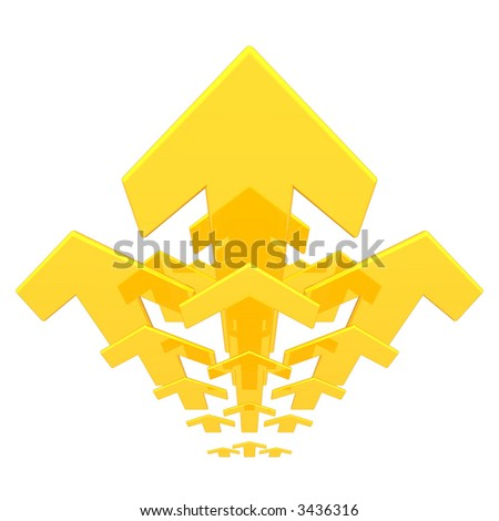 a group of golden arrows pointing upwards - stock photo