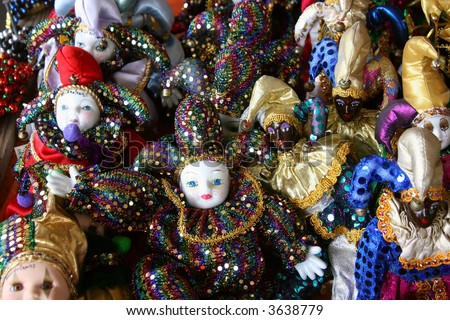 A group of good luck Mardi Gras dolls at the French Market in New Orleans, Louisiana.