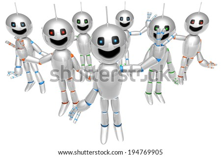 A group of greeting and waving cartoon Robots. 3D rendered Illustration. - stock photo