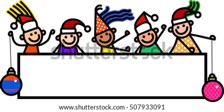 A group of happy and diverse boys and girls with Christmas baubles and santa hats, standing around a blank page banner.