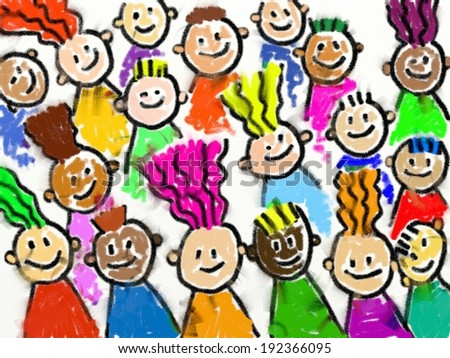 A group of happy and diverse kids drawn in a childlike smudgy chalk style. - stock photo