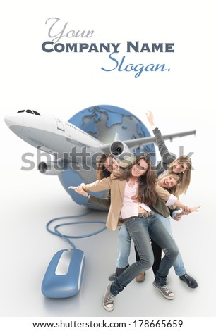 A group of happy girls on a online organized group holiday - stock photo