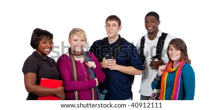 A group of happy multi-racial college students/friends holding backpacks on a white background - stock photo