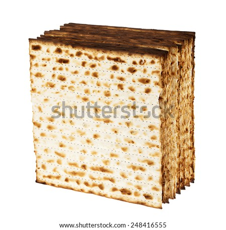 A group of Jewish Matzah bread, the substitute for bread on the Jewish Passover holiday, isolated on white background. - stock photo