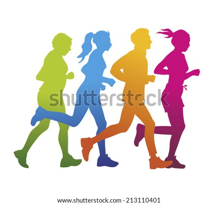 a group of jogger as colored silhouette - stock photo
