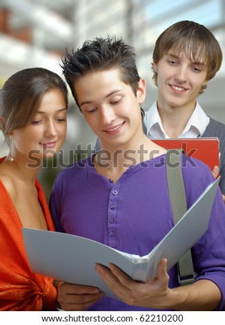 A group of joyful and friendly students - stock photo