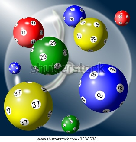 A group of lottery balls suspended in the air / lottery balls