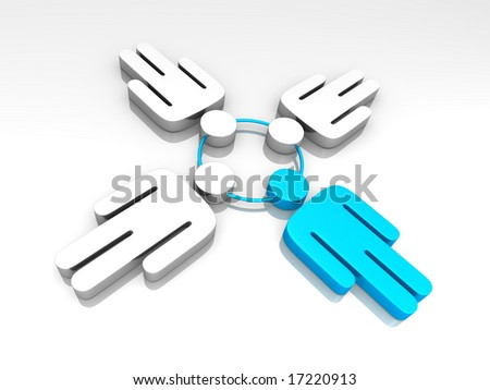 a group of man pictograms connected - stock photo