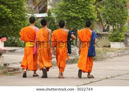 A group of monks taking a stroll in Vientiane, Laos