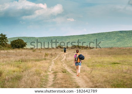 A group of mountain hikers traveling through Crimea - stock photo