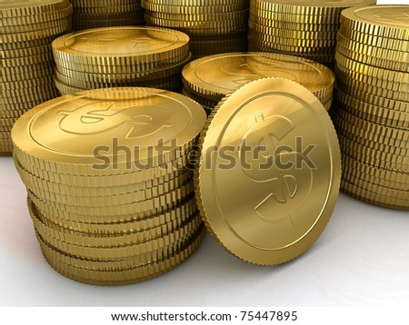 a group of neatly stacked gold coins - stock photo
