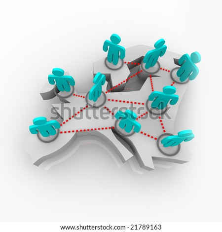 A group of networked figures stand atop a conceptualized map of Europe - stock photo