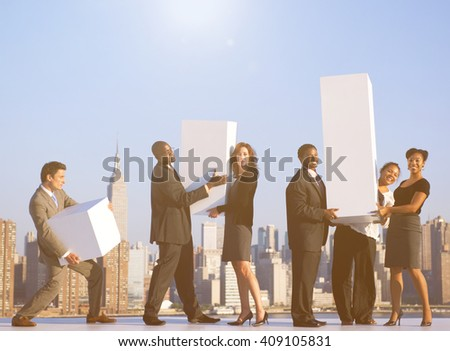 A group of office workers in New York Concept - stock photo