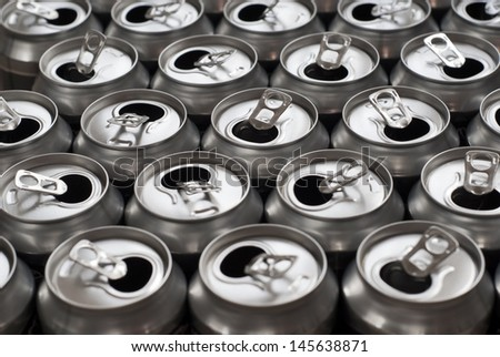 A group of opened aluminum drinks cans. - stock photo