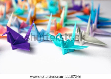A group of origami birds - stock photo