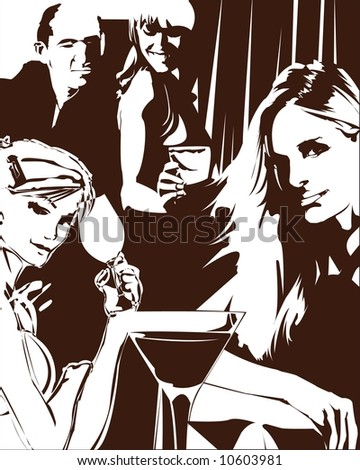a group of people enjoying at the bar - stock photo