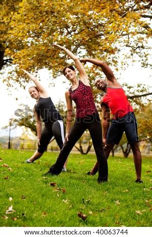 A group of people exercising in a park - stock photo