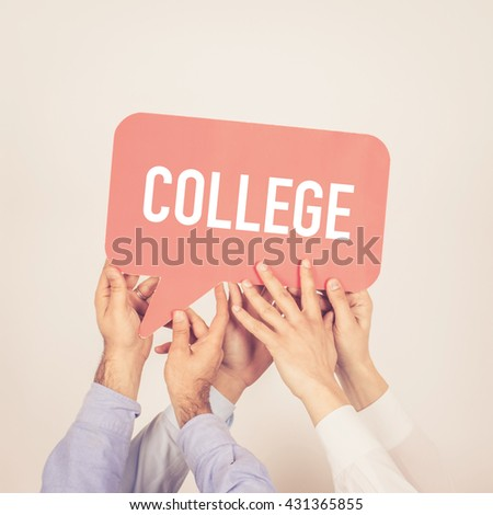 A group of people holding the College written speech bubble