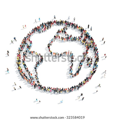 A group of people in the form of Earth,  cartoon, isolated, white background. - stock photo
