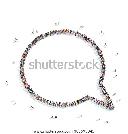 A group of people in the shape of a bubble chat, a flash mob. - stock photo