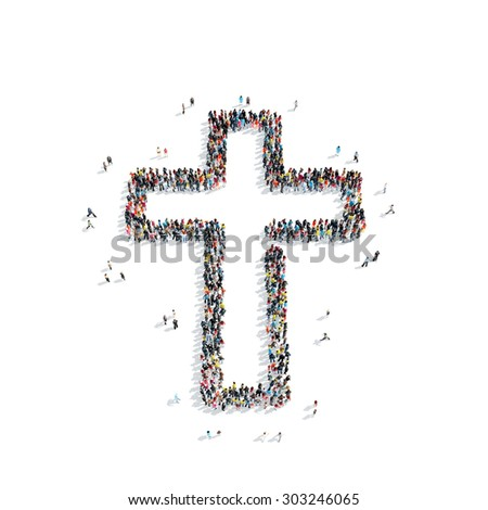 A group of people in the shape of a Catholic cross, religion, flashmob. - stock photo