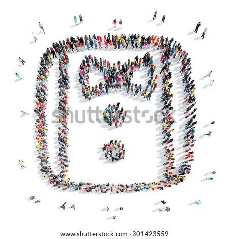 A group of people in the shape of a shirt, a flash mob. - stock photo