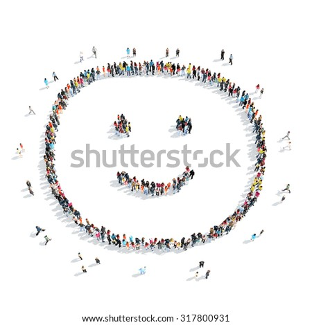A group of people in the shape of a smile, cartoon, isolated, white background. - stock photo