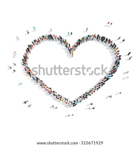 A group of people in the shape of heart, love, cartoon, isolated on a white background. - stock photo