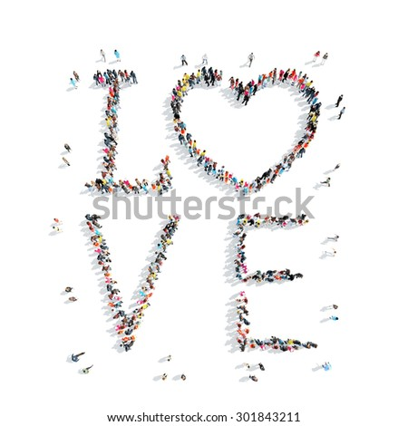 A group of people in the shape of love, heart, flash mob. - stock photo
