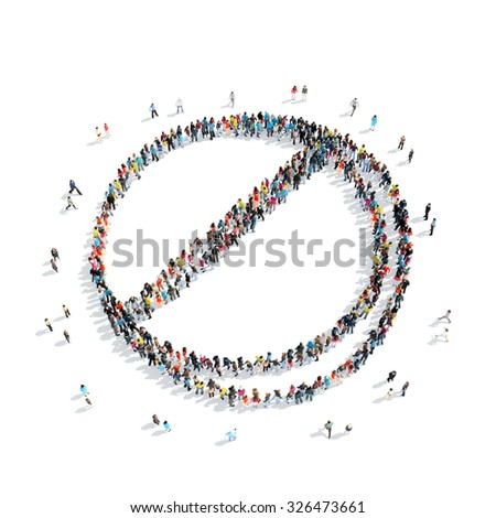 A group of people in the shape of pills, medicine, isolated, cartoon, white background. - stock photo