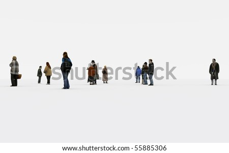 a group of people on withe background - stock photo