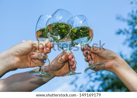 A group of people proposing a toast - stock photo