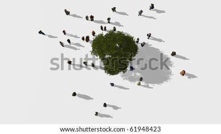 A group of people standing near a big tree - stock photo
