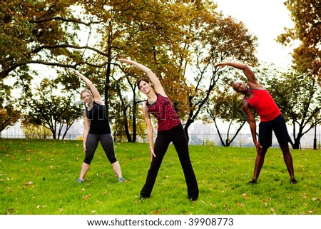 A group of people stretching in a park - stock photo